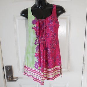 3/$22CAbi Sik Multi-color Sleeveless Ruched Tunic